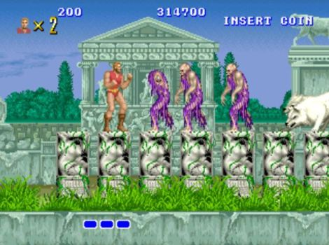 Altered Beast had some neat effects. These purple toga'd zombies came apart piece by piece, first the head, and then exploding with chunks coming a bit at the screen to add a smidgen of 3D effects to the combat. Also, one of those magic wolves lurks at the edge of the screen.