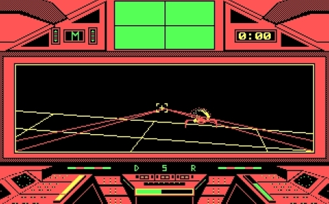 In contrast, the DOS version was just ugly. Instead of seeing some land and ocean below, you just got a giant grid and vector graphics representing the fighters and your lasers. The explosions were still kind of pretty, though. Also, oddly enough, there seemed to be a lot fewer fighters that got in your face in this version making it somewhat 'easier'.