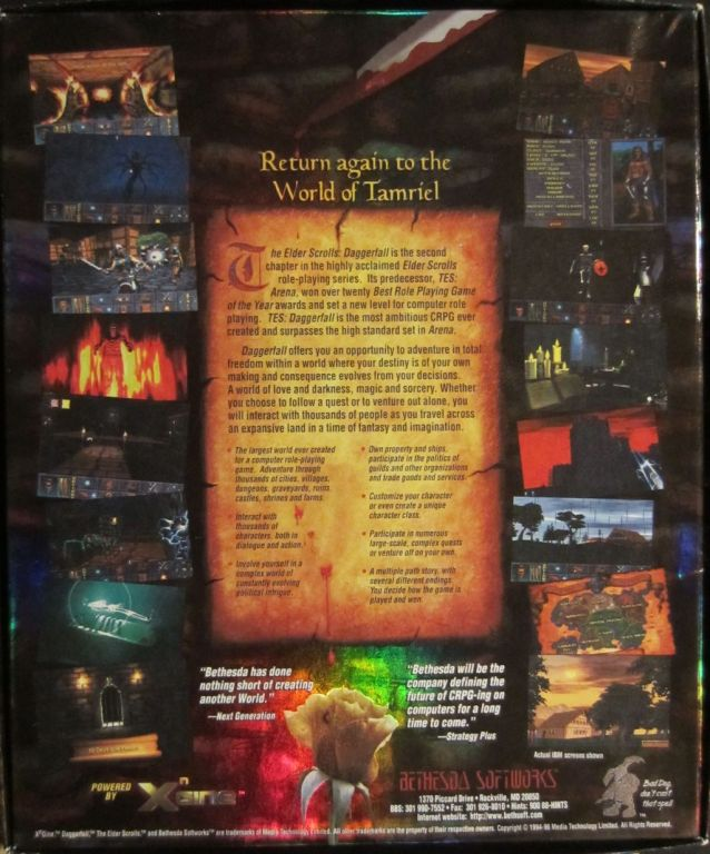 "The retail box for Daggerfall looked great and the back laid out the invitation to explore its world. In the lower right corner was also something of a short-lived mascot captioned with ""Bad dog, don't cast that spell!""."