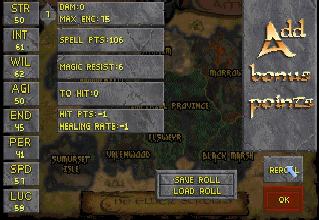 You could create your character one of two ways -- by rolling up stats and distributing your points, or answering a few questions a la Ultima IV style.