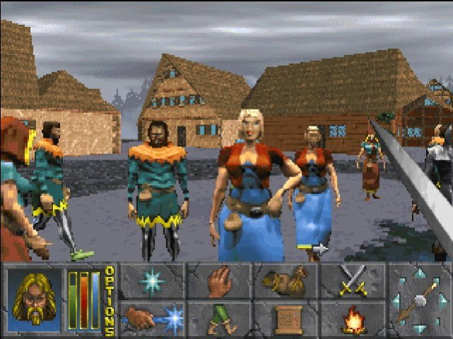 Daggerfall's graphics were a mix of 2D and 3D -- 3D dungeons and towns, 3D rendered characters like these NPCs turned into 2D sprites.